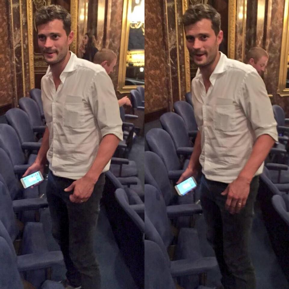 Jamie attending the Elephant Man play in London starring Bradley Cooper.