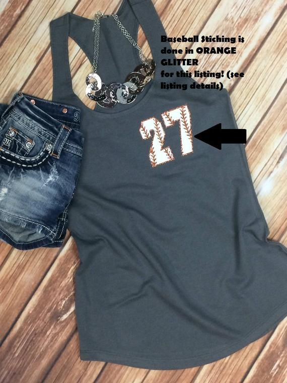 Photo of Baseball Mom Tank. Baseball Mom Shirt. White Glitter Baseball Number. Orange Glitter Stiching. Racerback Fit Tank. Charcoal Tank