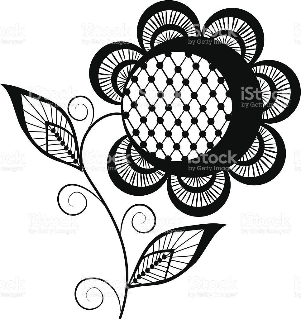 abstract sunflower logo, black and white royaltyfree