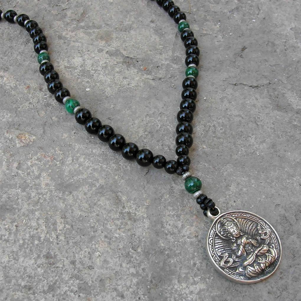 Necklaces buddha genuine onyx malachite gemstone necklace with