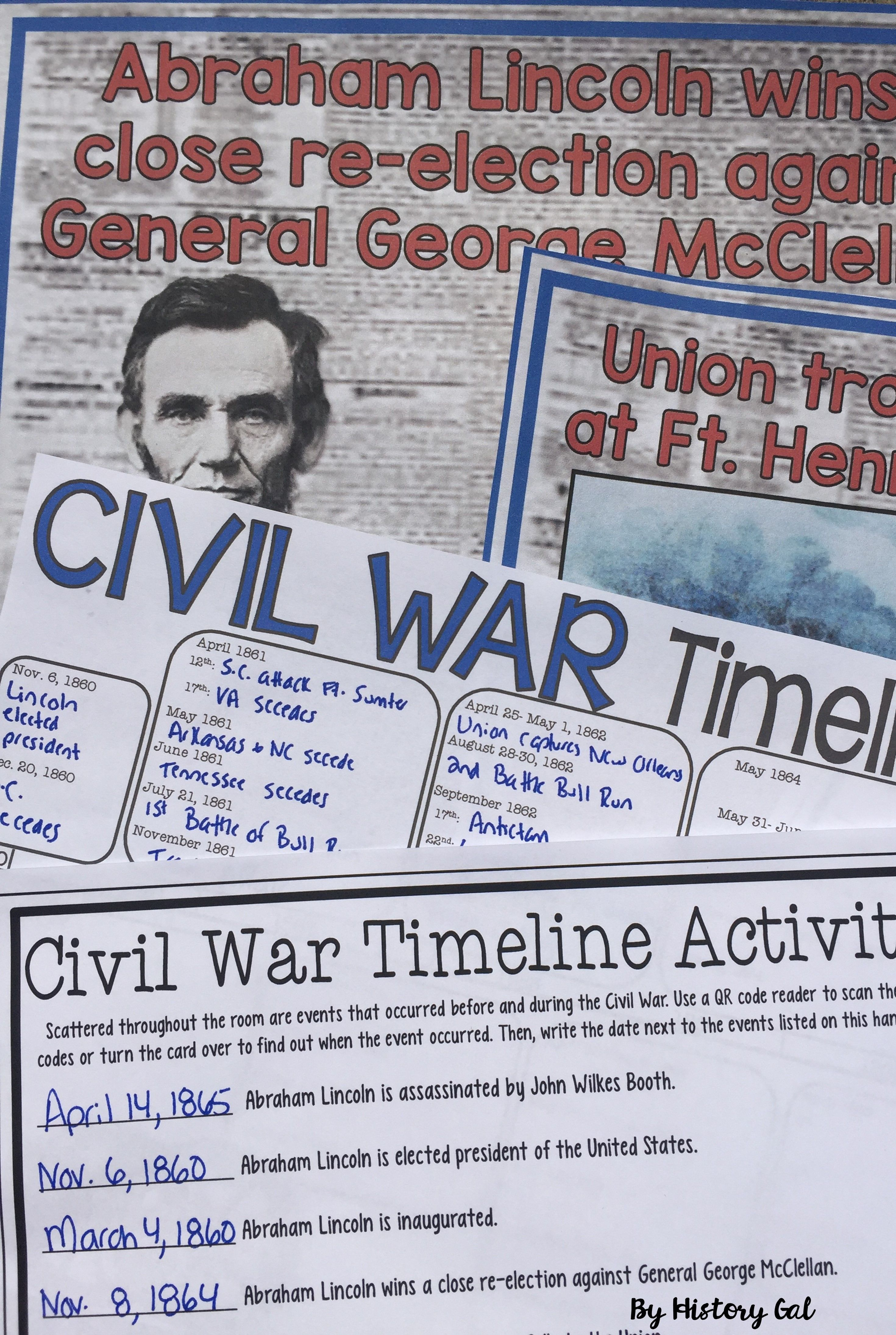 Civil War Timeline Activity With And Without Qr Codes