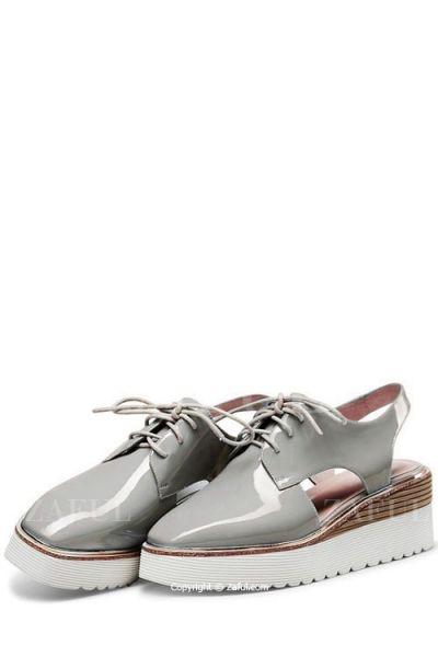 Slingback Square Toe Lace-Up Platform Shoes GRAY: Platforms | ZAFUL
