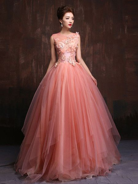 Whimsical Modest Blush Pink Fairy Tale Quinceanera Ball Gown