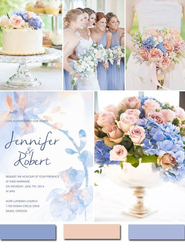 Periwinkle Blue And Blush Wedding