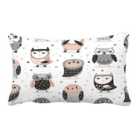 ECZJNT Cute owls stars in pink and grey colors Pillow Case Pillow Cover Cushion Cover 20x30 Inch