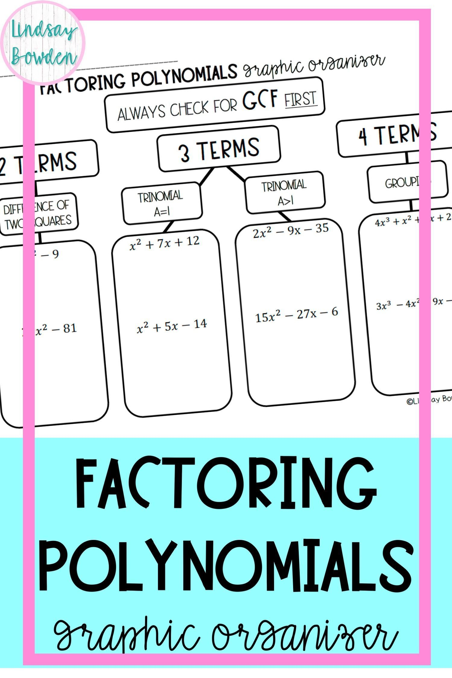 Factoring Polynomials Graphic Organizer In