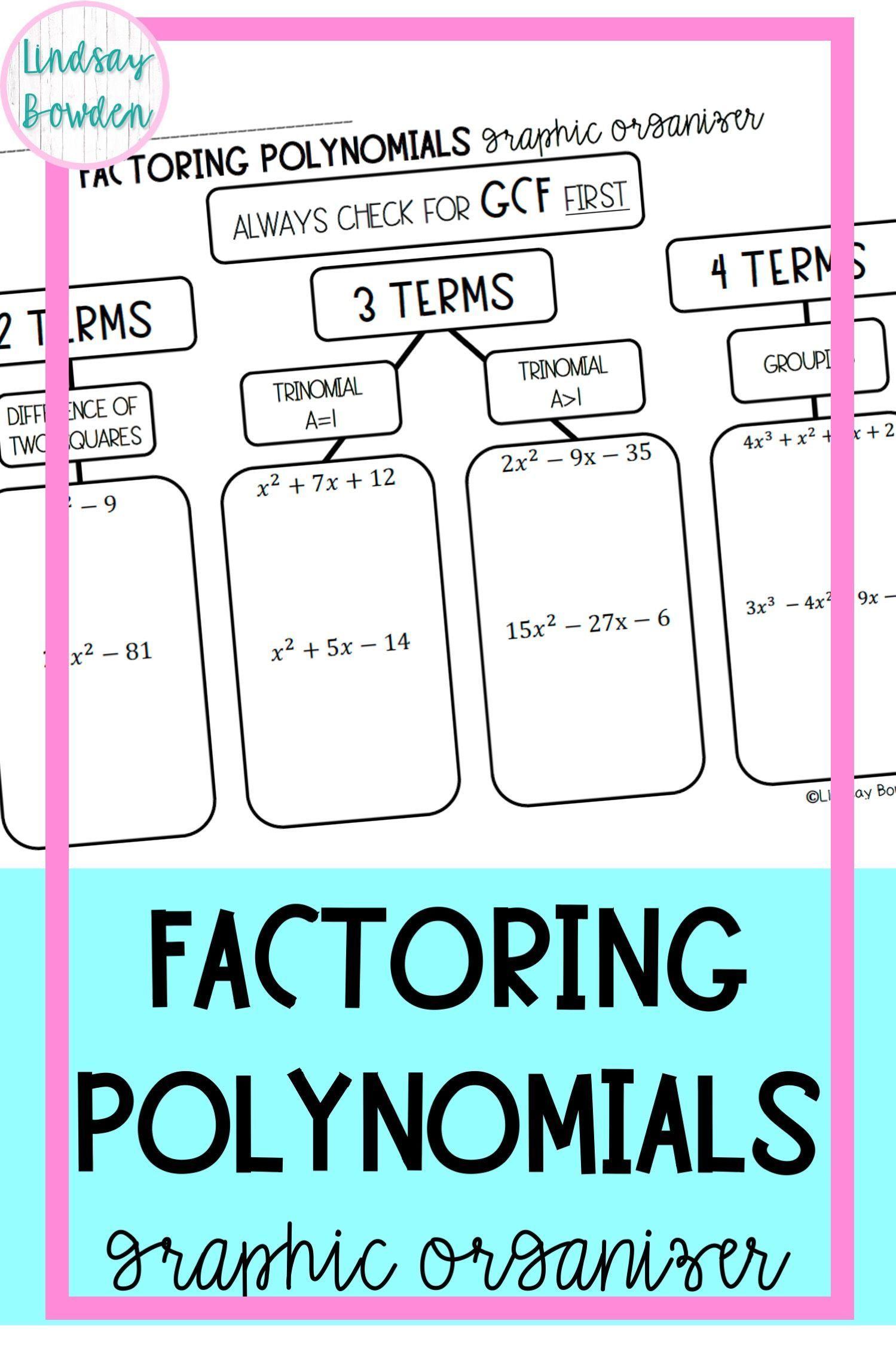 Factoring Polynomials Graphic Organizer In