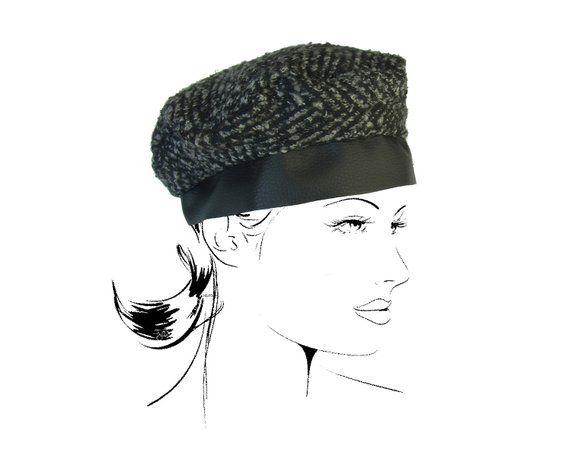 beret Hat Cap toque hairdressing wool winter fashion accessory black grey mesh headband hair woman #bandeaulaine