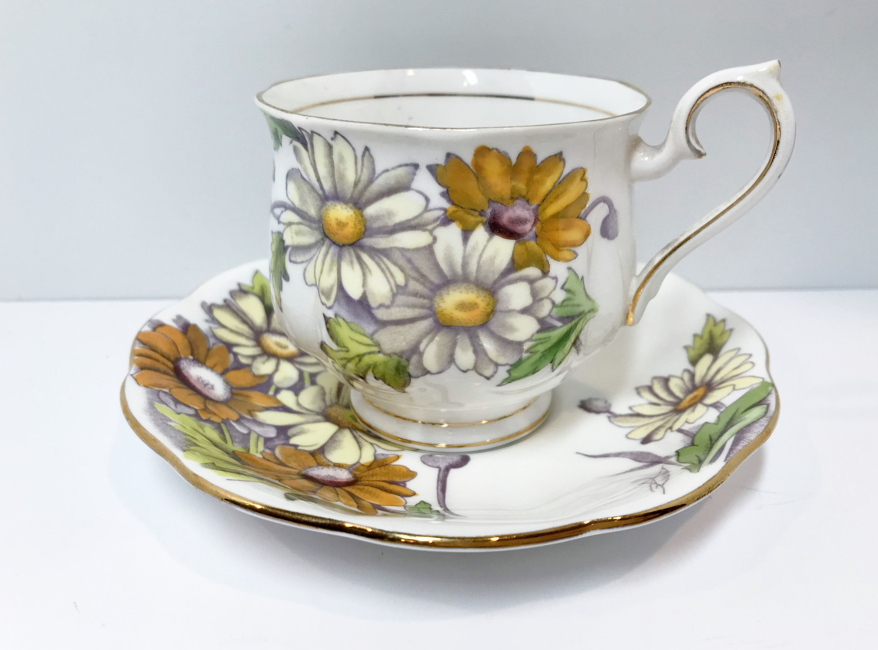 Daisy Tea Cup and Saucer by Royal Albert Bone China, April Birthday Cup, Hand Painted Cups, English Teacups, Antique Tea Cups Vintage #teacups