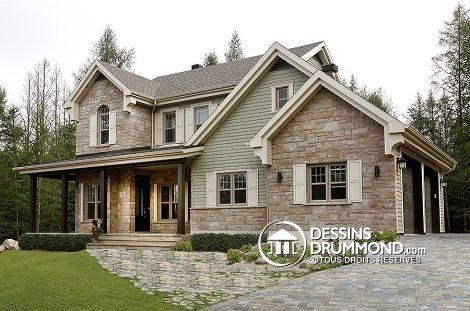 Plan de maison W3862-V1, champêtre, country, house style, home ideas - idee de plan de maison