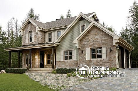 Plan de maison W3862-V1, champêtre, country, house style, home ideas