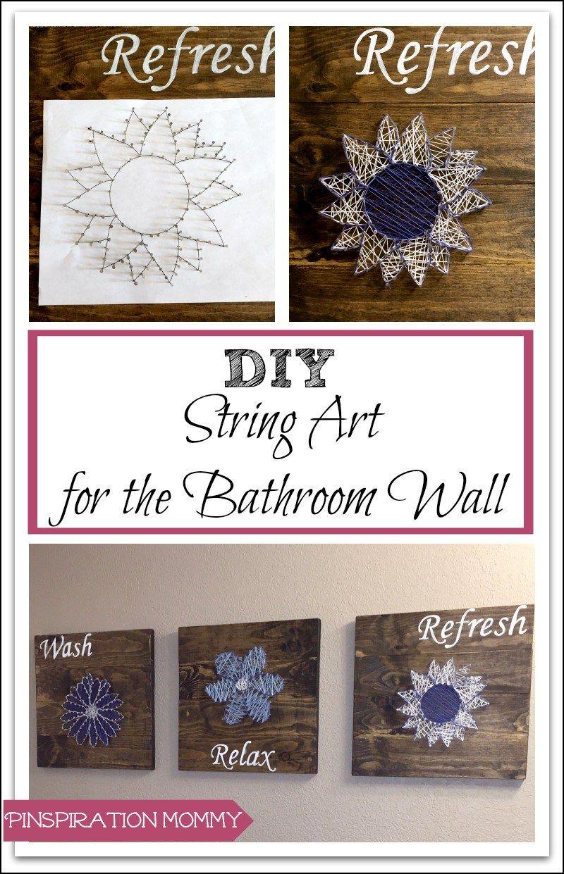 Diy bathroom wall art u creating string art to add a splash of color