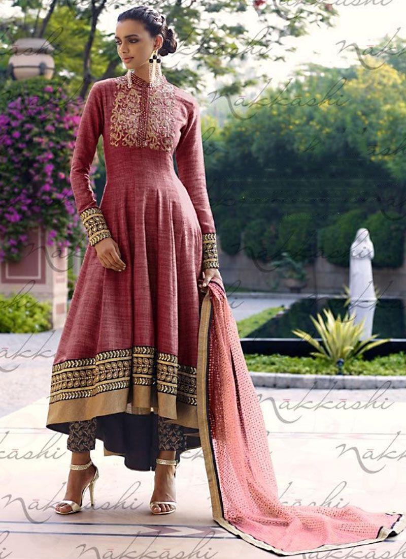 Versatile Maroon Khadi Anarkali Suit | suits | Pinterest