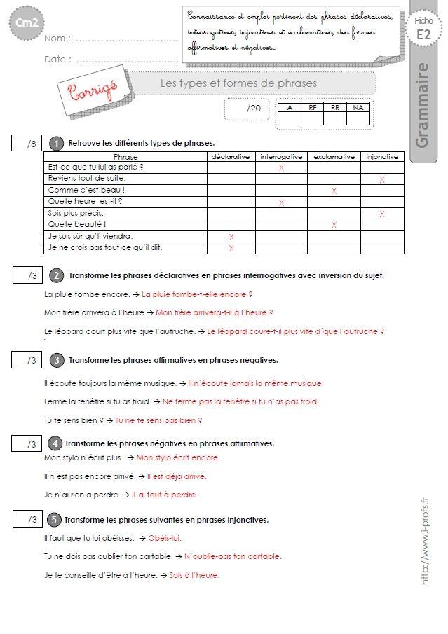 Cm2 Evaluation Types Et Formes De Phrases Evaluation Cm2 Evaluation Grammaire Cm1 Types De Phrases