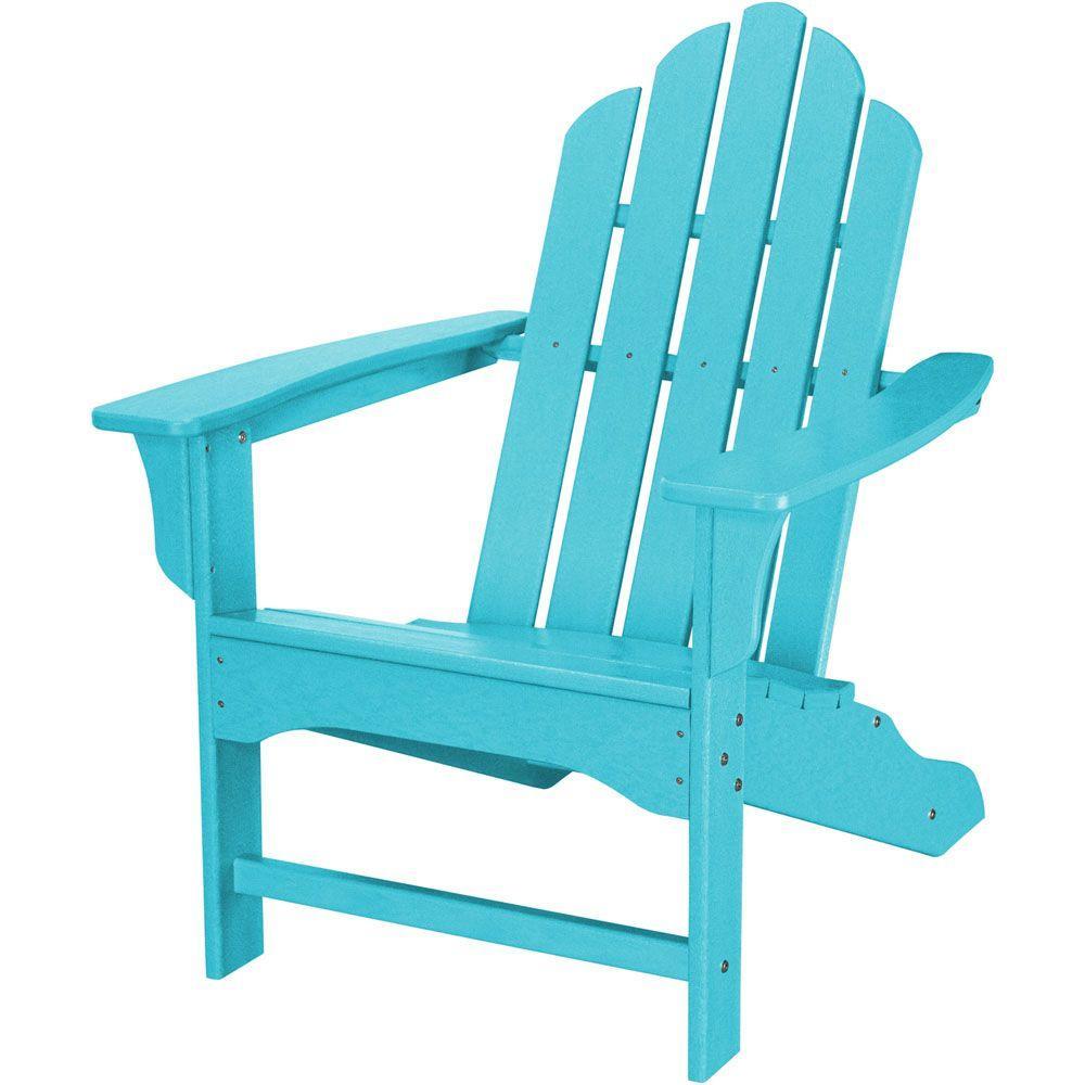 Hanover All Weather Patio Adirondack Chair In Aruba Blue Hvlna10ar Plastic Adirondack Chairs Outdoor Furniture Wood Adirondack Chairs