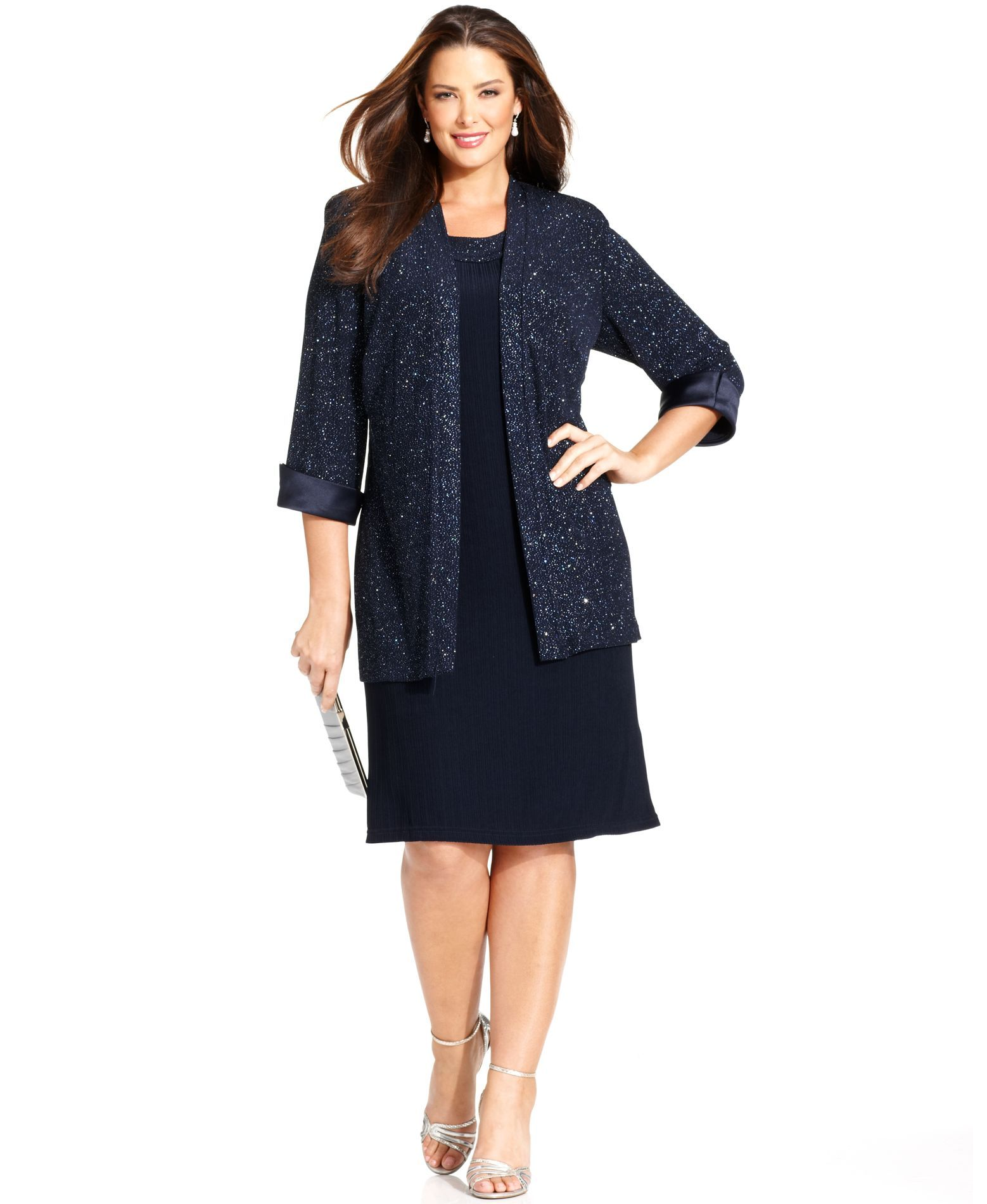 Plus size jacket dress for wedding  Love this outfit It would be a great one to wear to the wedding Ium
