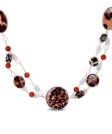 Look at this #zulilyfind! Agate & Carnelian Animal Stone Necklace #zulilyfinds
