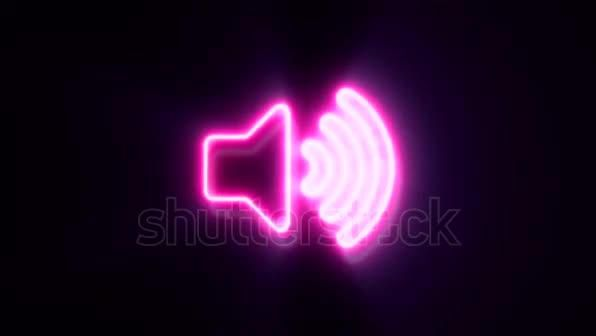 Pink neon volume sign blinks and appear in center and disappear after some time