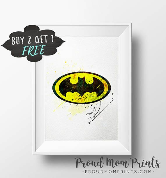 Batman Decor, Batman Logo Wall Art Print Poster Printable, Batman