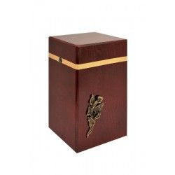 Mahogany Solid Wood With Brass Calla Lily Funeral Cremation Ashes Urn for Adult (220)