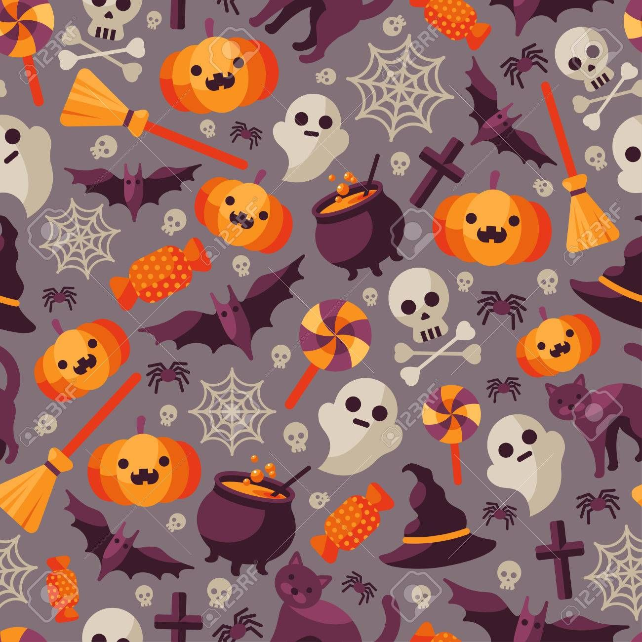 Halloween Seamless Pattern With Orange Pumpkin Spider Web Candy Witch Hat Broom And Cauldron Skull A Halloween Blanket Fleece Throw Blanket Sofa Couch Bed