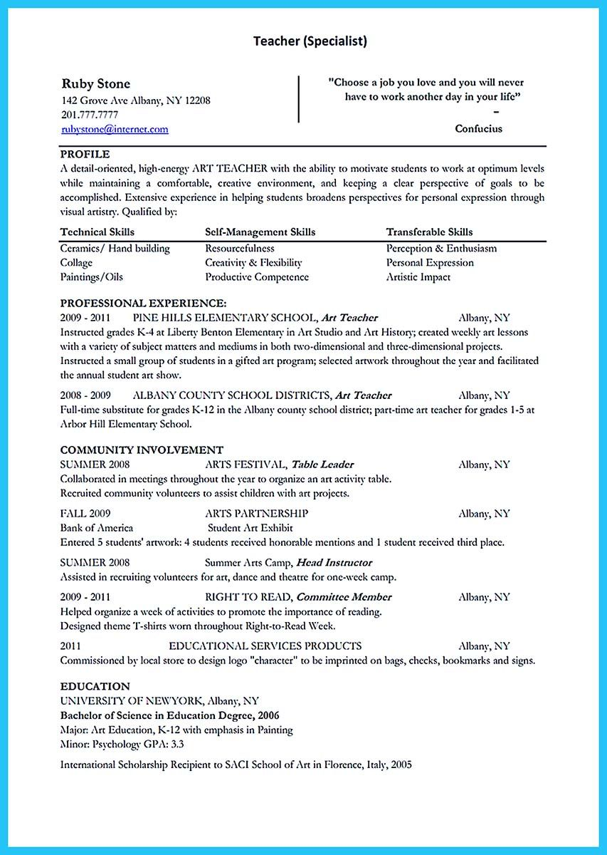 if you are seeking a job as an art teacher one of the awesome creative and extraordinary art teacher resume for any level education check more at