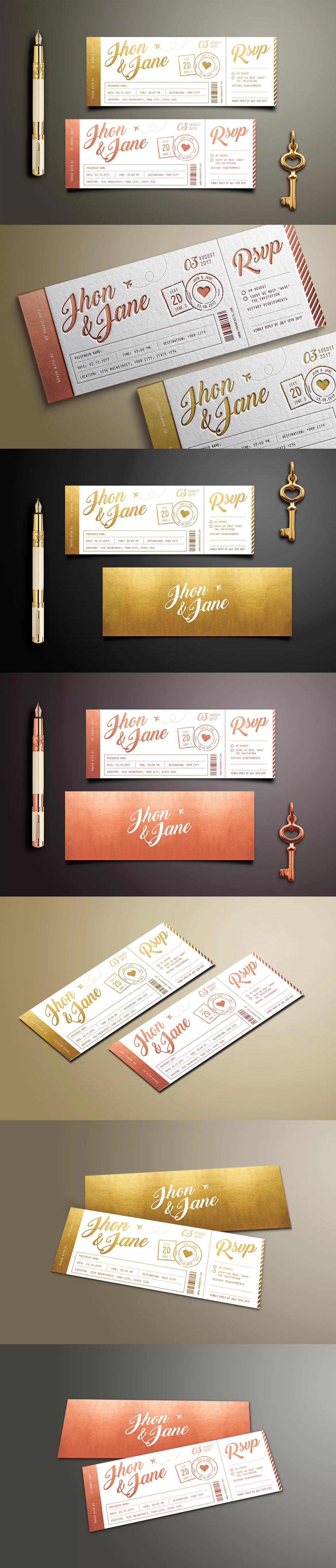 Elegant Gold Wedding Invitation Ticket Template PSD Wedding - Wedding invitation templates: wedding invitation ticket template