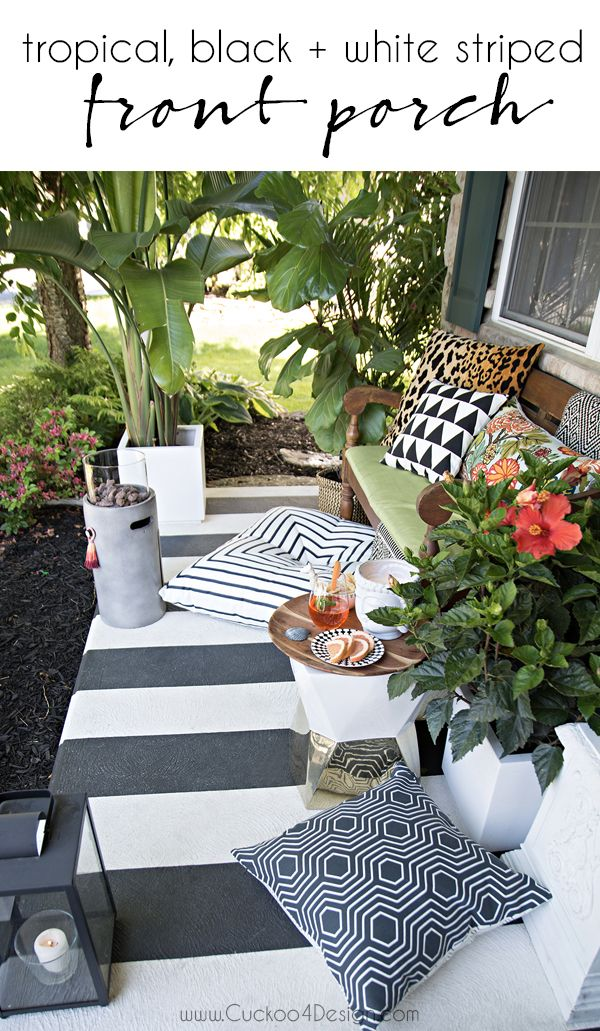 Tropical, black and white striped porch | Colorful throw ... on Black And White Backyard Decor  id=67487