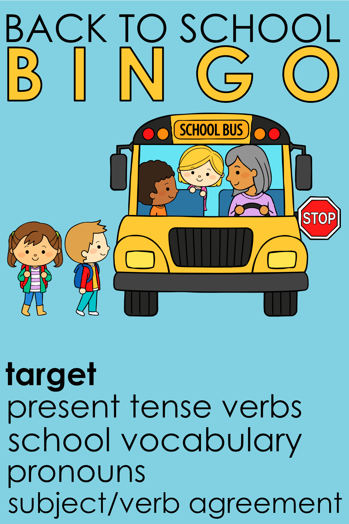 Back To School Bingo Present Tense Verbs