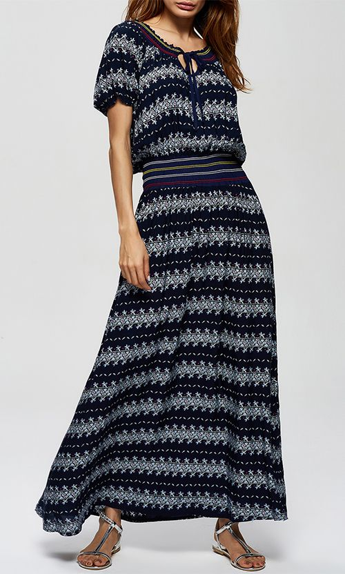 Ornate Print High Waist Maxi Dress