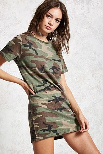 b60dc470e174 Camo Print T-Shirt Dress. Find this Pin and more on Products by Forever 21.