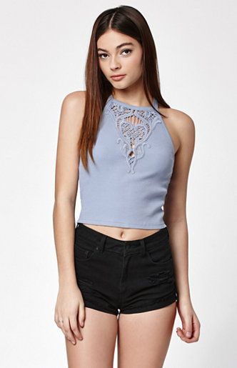 Ribbed Crochet Yoke Cami Tank Top