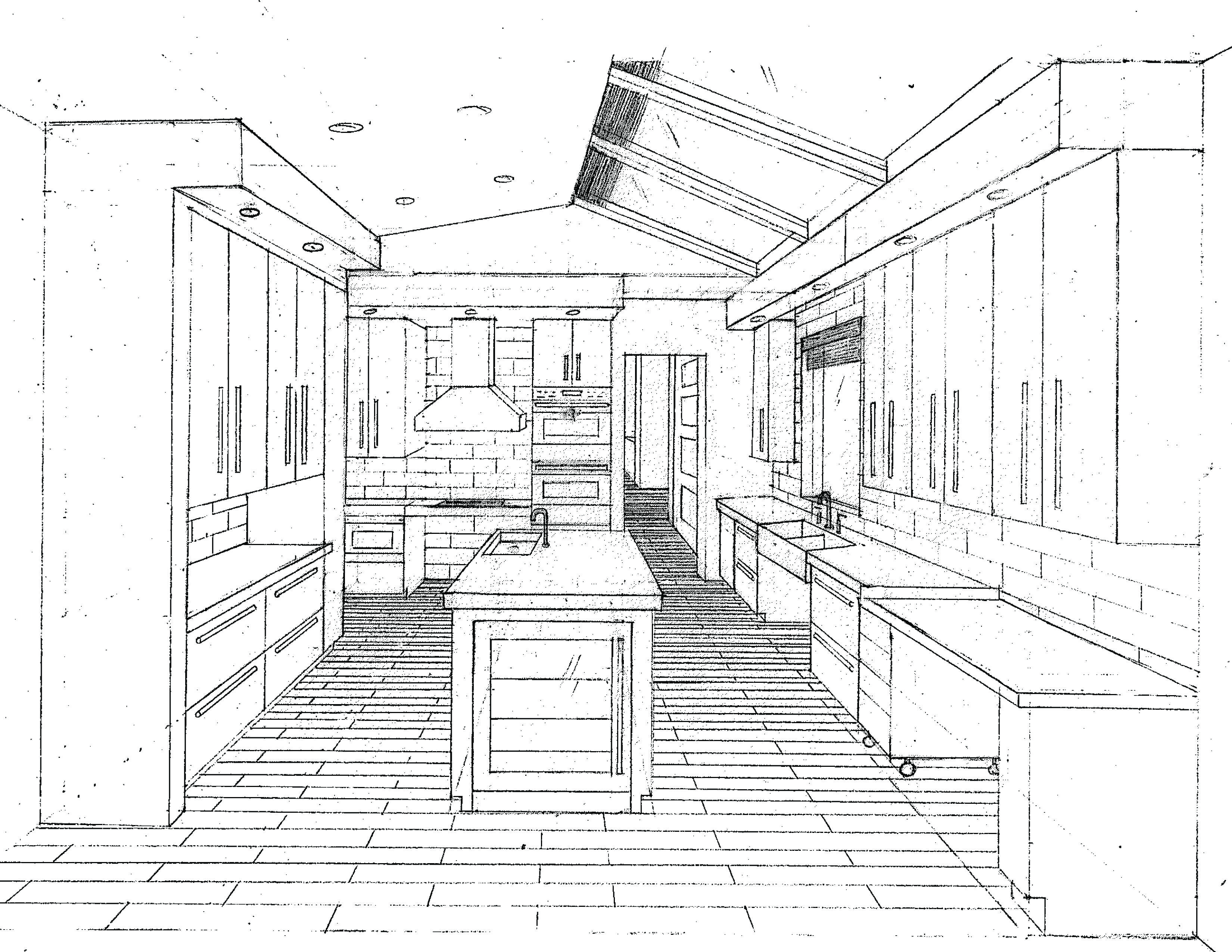 O Brien Residence Kitchen One Point Perspective Desenhos