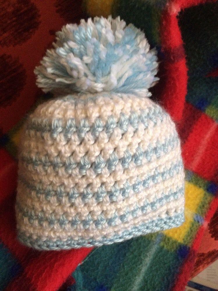 Boutique newborn baby boy crochet photo hat prop winter beanie pom pom #handmadebyjsuey123 #Beanie