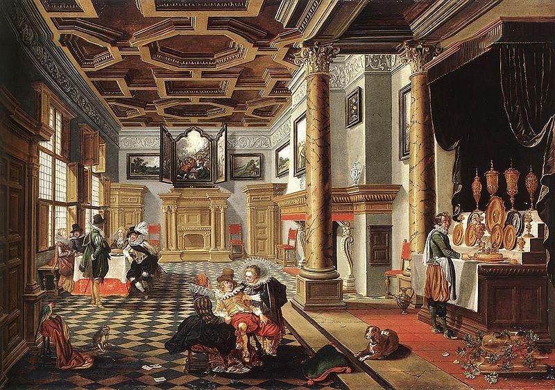 bassen bartholomeus van renaissance interior with banqueters date movement baroque theme architecture technique oil - Italian Renaissance Interior Design