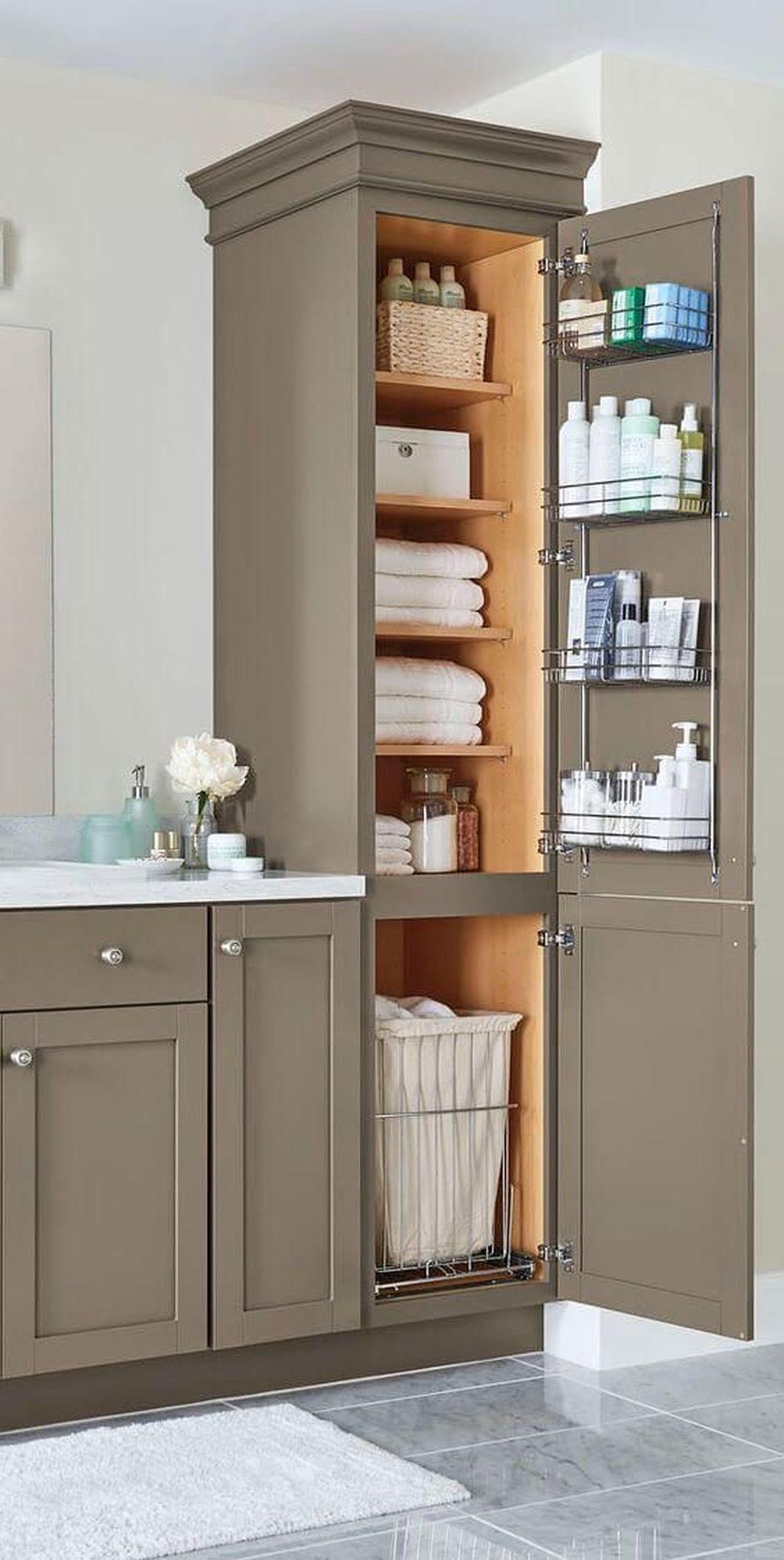 32 Gorgeous Bathroom Storage Ideas You Should Copy In 2020 Farmhouse Bathroom Decor Bathroom Organization Diy Trendy Bathroom