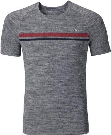 31c3f09bf Odlo Men's Revolution TW Light Pinstripe Crew Shirt Grey Melange S ...