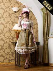 Dirndl Kinga Mathe in beige mit rosa Hut