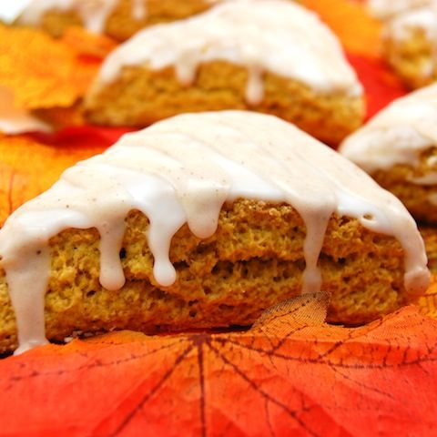 Pumpkin Scones with Spiced Glaze! I want one on a chilly fall morning with a cuppa joe!