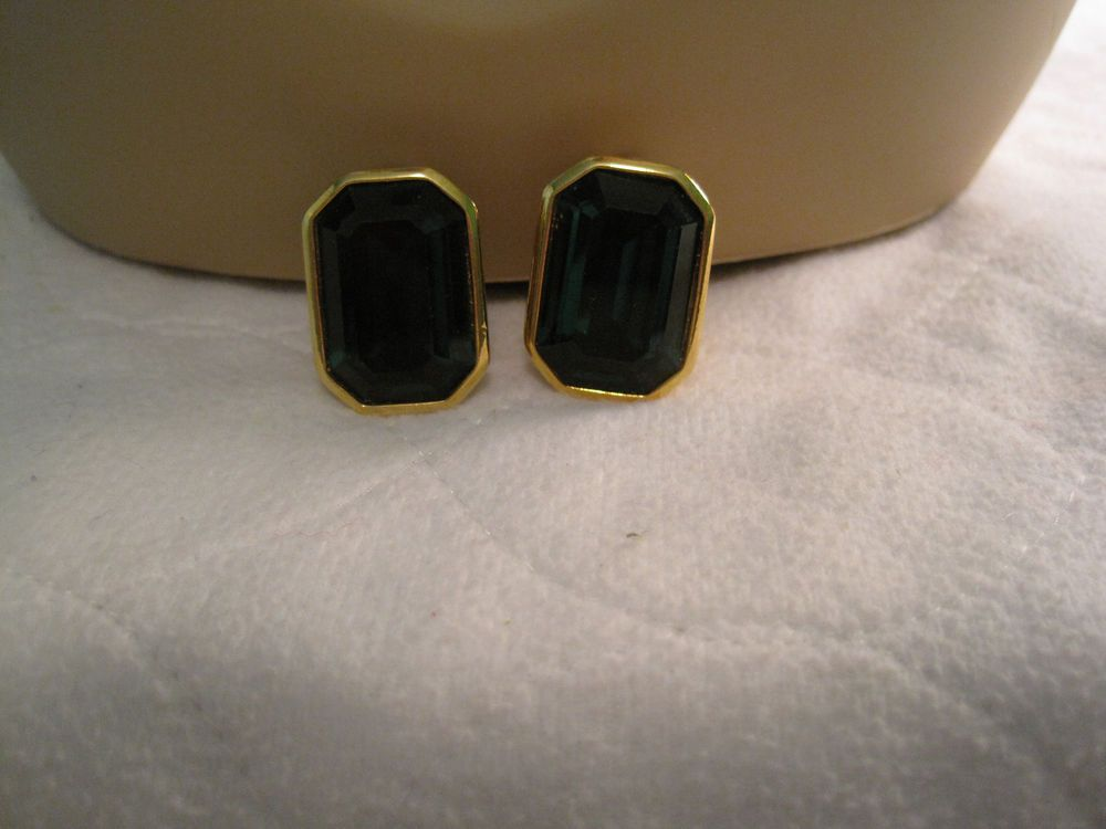 Gold Tone Large Faux Emerald Clip On Earrings #Huggie