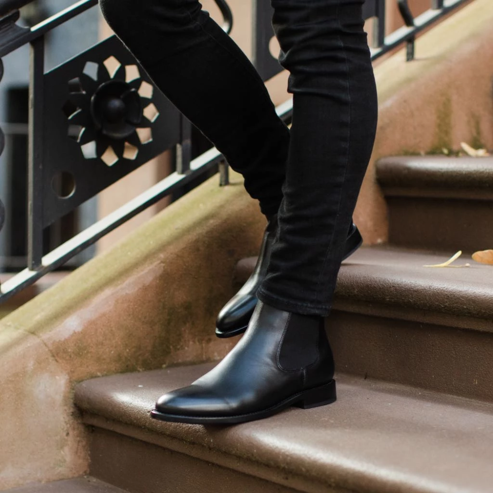 Mens Black Leather Chelsea Boots