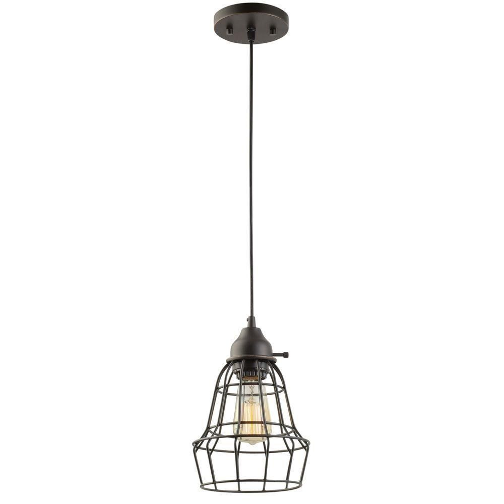 Vintage pendant light cage style adjustable dimmable edison bulb w