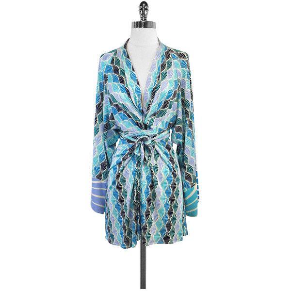 Pre-owned Issa London Blue & Green Silk Kimono Sleeve Wrap Dress ...