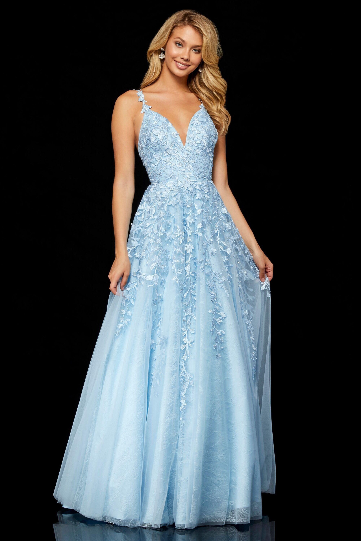 Sherri Hill - 51750 Beaded Deep V-neck Fitted Dress in