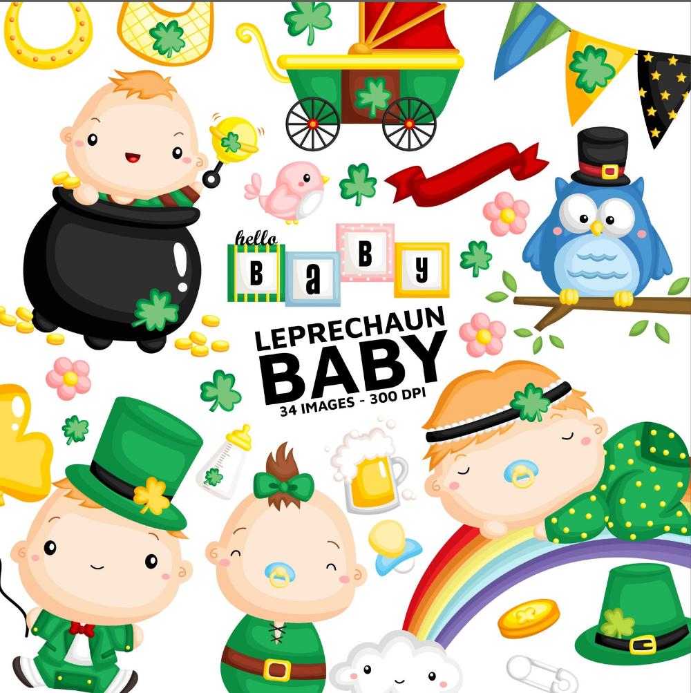 Leprechaun Babies Clipart Cute Baby Clip Art Character And Etsy Baby Clip Art Clip Art Free Clip Art