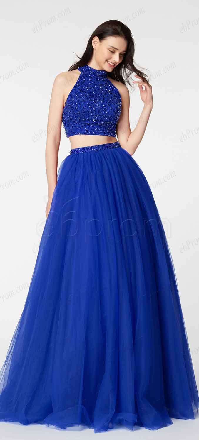 Beaded royal blue two piece prom dresses long ebprom prom dresses