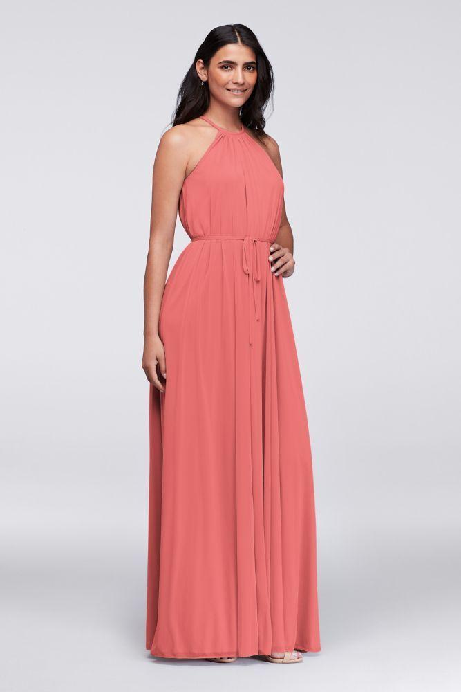 Mesh Halter Bridesmaid Dress with Slim Sash Style F19533