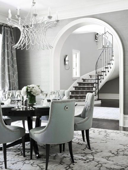 Dove Gray Home Decor Grey Dining Room With Soft Aqua Chairs