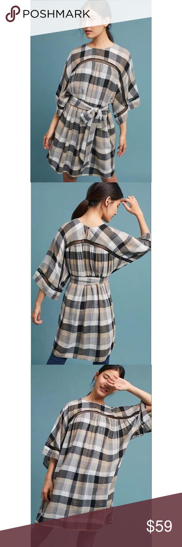 b6316e53ac7c NEW Anthropologie Tie-Waist Kimono Tunic Dress | Plaid tunic, Floppy ...