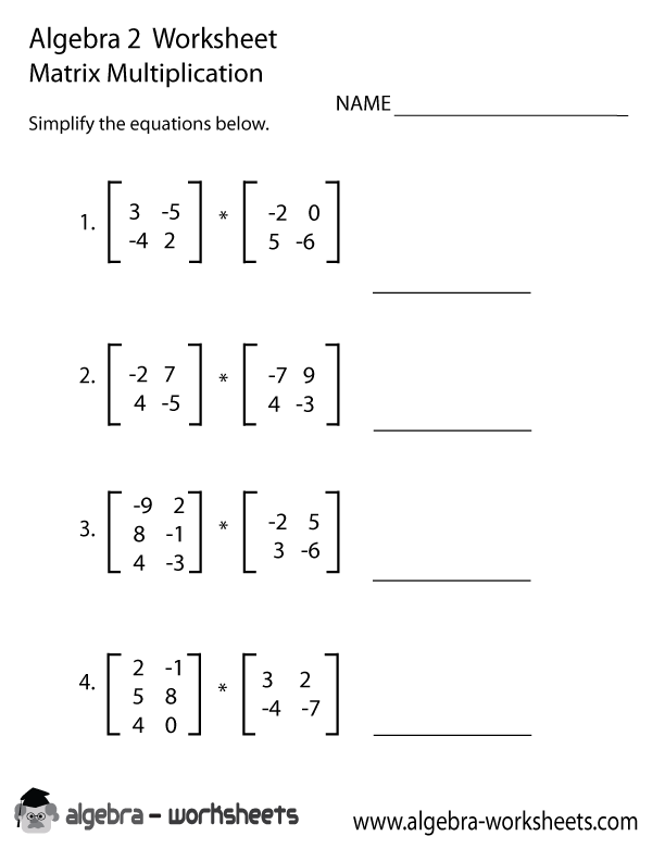 Matrix Multiplication Algebra 2 Worksheet Algebra 2 Worksheets